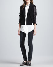 3.1 Phillip Lim Cross-Front Leather-Sleeve Jacket, Asymmetric Draped Beaded Silk Tank & Ponte-Insert Corded Pants