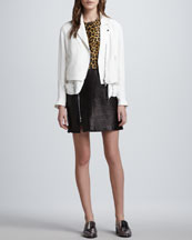 3.1 Phillip Lim Trompe l'Oeil Layered Silk Moto Jacket & Leopard-Print Leather Combo Dress