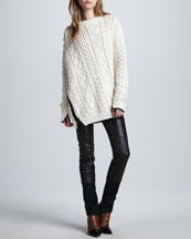 3.1 Phillip Lim Oversized Cable Knit Pullover & Lambskin Leather Wader Pants