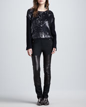 3.1 Phillip Lim Sequined Wool Pullover Sweater & Lambskin Leather Wader Pants