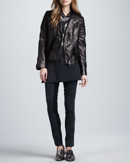 3.1 Phillip Lim Lambskin Leather Biker Jacket, Beaded Phoenix Tank & Ponte-Insert Corded Pants