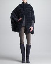 Loro Piana Mink Fur Cape, Allie Melange Turtleneck & Mathias Matte Velvet Pants