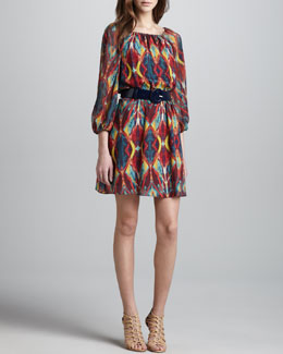 Alice + Olivia Killian Printed Chiffon Dress & Patent Round-Buckle Belt