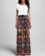 Alice + Olivia Marissa Leather-Trim Tee, Miabella Printed Chiffon Maxi Skirt, & Patent Round-Buckle Belt