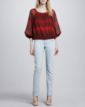 Alice + Olivia Alta Printed Chiffon Top & Five-Pocket Skinny Jeans