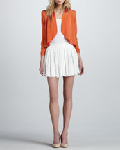 Alice + Olivia Gatz Draped Open Jacket & Box-Pleated Lace Skirt
