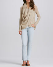 Alice + Olivia Draped Linen Sweater & Five-Pocket Skinny Jeans