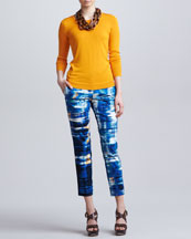 Lela Rose Long-Sleeve Silk Crewneck Sweater, Skinny Abstract-Print Everyday Pants & Wooden Chain Necklace
