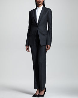THE ROW Flannel Peak-Lapel Suit & Voile Combo Blouse