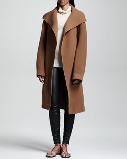 THE ROW Brushed Twill Coat, Ribbed Turtleneck Sweater & Stretch-Leather Leggings