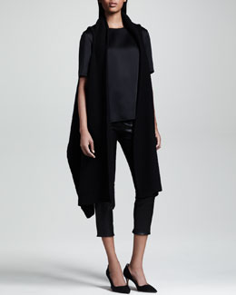 THE ROW Long Draped Vest, Shiny Crepe Tee & Cropped Stretch-Leather Leggings