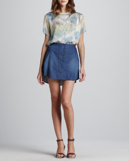 Theyskens' Theory Basymitrey Short-Sleeve Top & Suna Chambray Skirt
