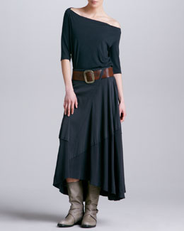 Donna Karan Off-the-Shoulder Tee, Paneled A-Line Skirt & Wide Leather Belt