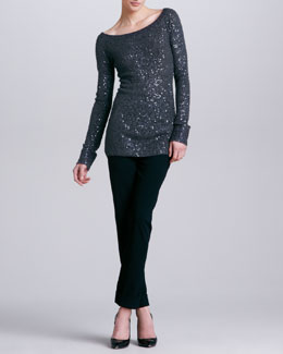Donna Karan Wide-Neck Sequined Cashmere Blend Tunic & Cuffed Trousers