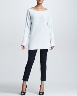 Donna Karan Wide-Neck Cashmere Silk Sweater & Cuffed High-Waist Trousers