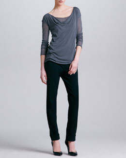 Donna Karan Lightweight Cowl Neck Jersey Top & Cuffed Trousers