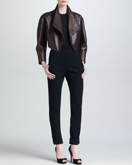 Donna Karan Draped Leather Bolero Jacket, Sheer Back Bodysuit & Cuffed High-Waist Trousers