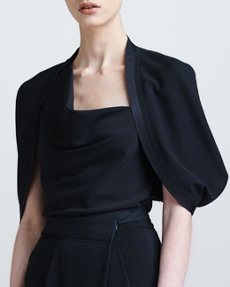 Donna Karan Satin-Trim Capelet Top & Envelope-Pleated Fluid Pants
