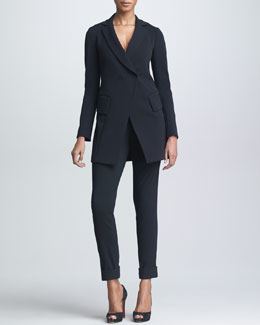 Donna Karan Long Fitted Double-Breasted Jacket & Cuffed High-Waist Trousers