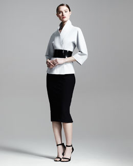Donna Karan Belted Kimono Jacket & High-Waist Formfitting Midi Skirt
