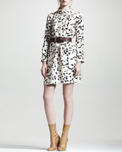 Chloe Mock-Neck Long-Sleeve Brushstroke Dress & Calfskin Leather Belt