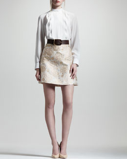 Chloe Pleated Bib Crepe de Chine Blouse, Metallic Jacquard Lampshade Skirt & Calfskin Leather Belt