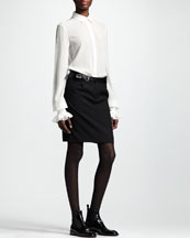 Saint Laurent Collared Silk Blouse & Leather-Belt Gabardine Skirt