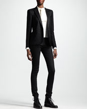 Saint Laurent Metallic One-Button Blazer, Button-Up Ascot-Neck Blouse & Skinny Low-Waist Jeans
