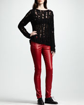Saint Laurent Distressed Crochet Sweater & Skinny Low-Waist Leather Pants