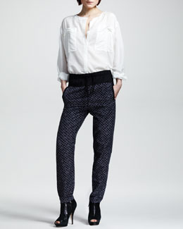 ALC Georgie Cotton-Silk Shirt & Alak Check Pants