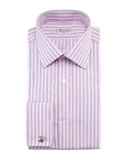 Charvet Striped French-Cuff Dress Shirt & Neat-Stripe Silk Tie