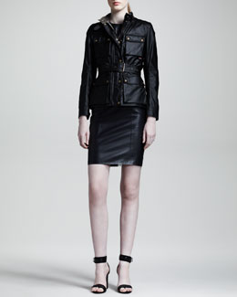 Belstaff Roadmaster Waxed Biker Jacket & Camborne Leather Sheath Dress