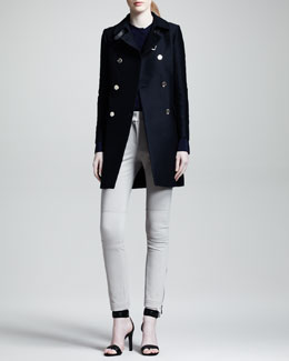 Belstaff Abberly Double-Breasted Coat, Lynton Crepe-de-Chine Tunic & Filton Skinny Motorcycle Pants