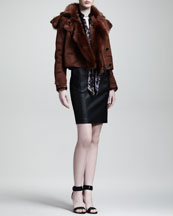 Belstaff Kenton Shearling Jacket, Harlow Camo-Print Silk Blouse & Taverham Leather Biker Skirt