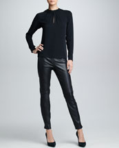 Ralph Lauren Black Label Leather-Collared Silk Top & Slim Leather Pants