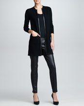Ralph Lauren Black Label Leather Piped Cashmere Cardigan, Cashmere Sleeveless Shell & Slim Leather Pants