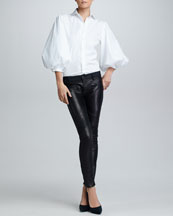 Ralph Lauren Black Label Aston Puff-Sleeve Cotton Poplin Blouse & Leather-Front Moto Jeans