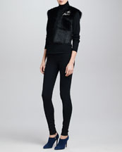 Ralph Lauren Collection Cropped Shearling Vest, Wool Long-Sleeve Turtleneck & Heavy Jersey Leggings