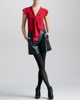 Derek Lam Tie-Front Blouse & Leather Shorts