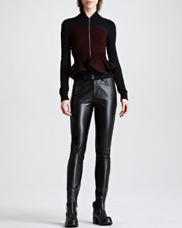 McQ Alexander McQueen Zip-Front Knit Peplum Jacket & Faux Leather-Front Denim-Back Leggings