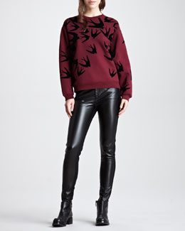 McQ Alexander McQueen Flocked Swallow Cotton Sweatshirt & Faux Leather-Front Denim-Back Leggings
