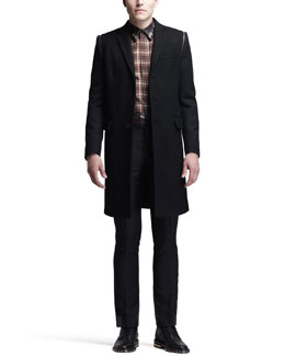 Givenchy Three-Button Overcoat, Mixed-Plaid Shirt & Flat-Front Trousers