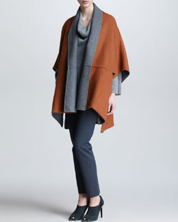 Armani Collezioni Reversible Cape, Turtleneck Sweater & Cropped Skinny Pants