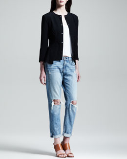 Rag & Bone Ambra Peplum-Back Jacket and Aberdeen Crop-Front Tee
