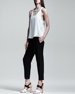 Rag & Bone Chieftain Mesh-Trim Tank & Contrast Waistband Easy Pants