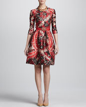 Oscar de la Renta Darted Print Dress & Crystal Buckle Faille Belt
