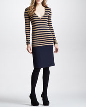 Burberry Prorsum Zigzag V-Neck Silk Sweater & Wool Pencil Skirt