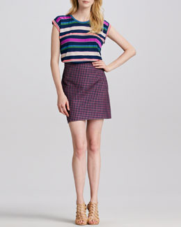 MARC by Marc Jacobs Striped Relaxed Jersey Top & Clover-Check Pencil Skirt