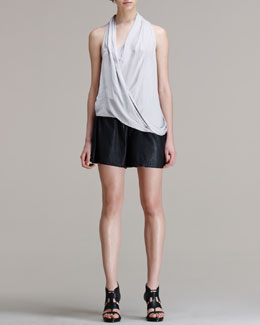 HELMUT Helmut Lang Glossy Cross-Front Shirting Top and Washed Leather Shorts