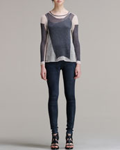 Helmut Lang Modern Lace Knit Pullover & Patina Stretch Leather Leggings